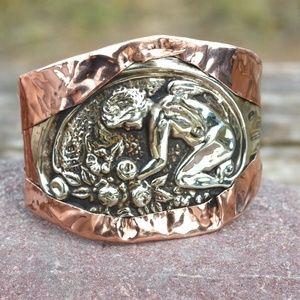 Copper Cherub Cuff Bracelet Antique Art Nouveau